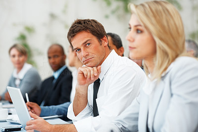 Buy stock photo Portrait of business man with a confident look during presentation