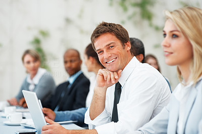Buy stock photo Portrait of executive smiling during business seminar