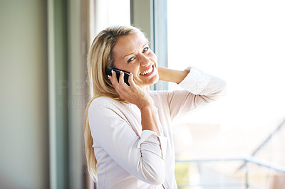 Buy stock photo Portrait of a beautiful young female using cellphone and looking with a happy expression