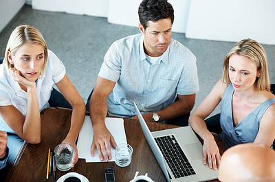 Buy stock photo Portrait of business team sitting around table during a meeting at office - Teamwork