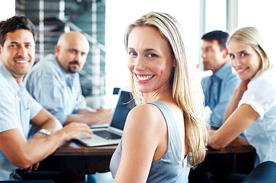 Buy stock photo Portrait of a business colleagues working together on a project at office - Group discussion
