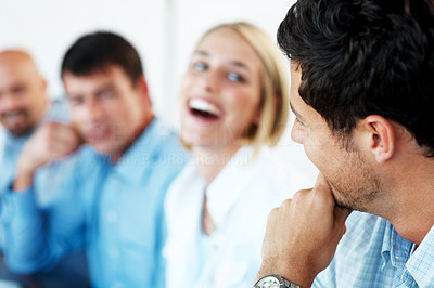 Buy stock photo Portrait of a happy business people enjoying during their office break