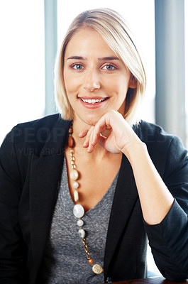 Buy stock photo Portrait of a young attractive business woman smiling