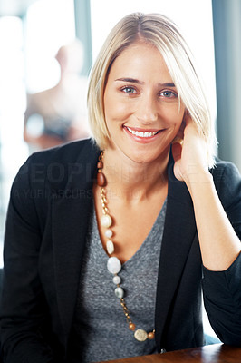 Buy stock photo Portrait of beautiful female executive smiling in office