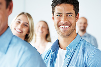 Buy stock photo Portrait of group of business people - Smiling young man in diverse group