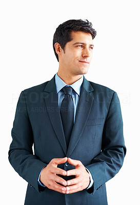 Buy stock photo Businessman standing on white background, looking off into distance