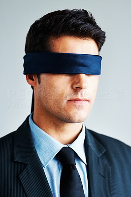 Buy stock photo Confident business man with blindfold on white background
