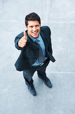 Buy stock photo Top view of businessman giving you a thumbs up