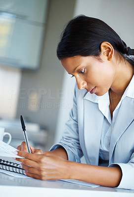 Buy stock photo View of pretty business woman focusing on business plan