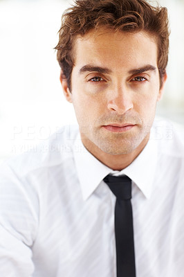 Buy stock photo Closeup portrait of serious business man on bright background
