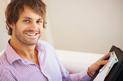 Buy stock photo Closeup of confident business man with portfolio and smiling