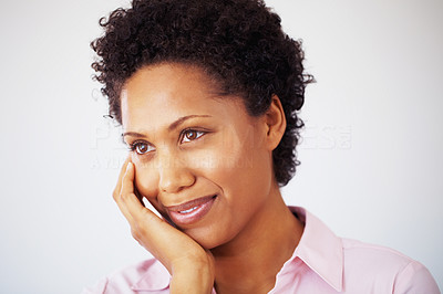 Buy stock photo Closeup of African American business woman with hand on face on white background
