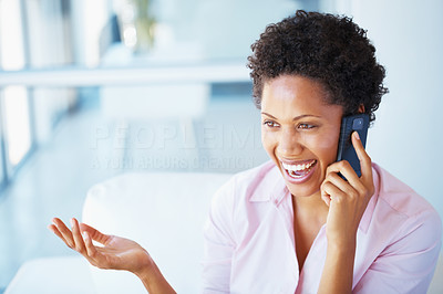 Buy stock photo Cheerful business woman conversing on mobile phone