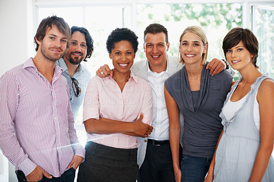 Buy stock photo Portrait of multi ethnic business team smiling together