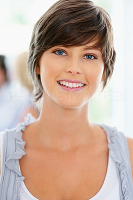 Buy stock photo Closeup of attractive woman with people in background