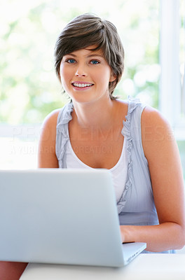 Buy stock photo View of pretty woman with laptop