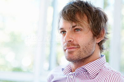 Buy stock photo Closeup of man looking off into distance