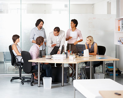 Buy stock photo Leader with his successful team discussing in conference room