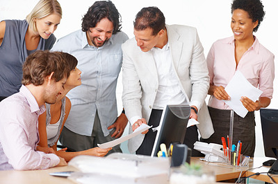 Buy stock photo Professionals discussing project in board room