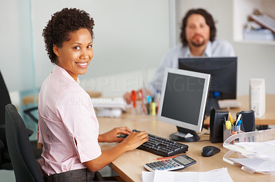 Buy stock photo African American business woman working on computer in the office