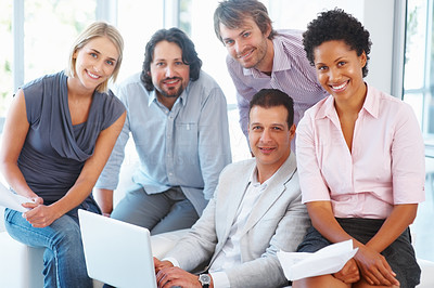 Buy stock photo Portrait of corporate professionals smiling together at office