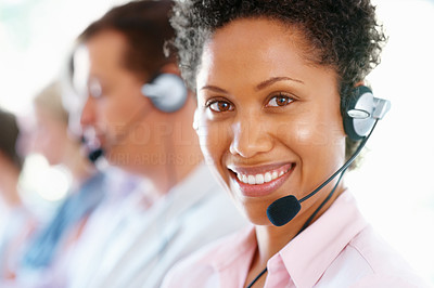 Buy stock photo Closeup of African American female executive in headset at office