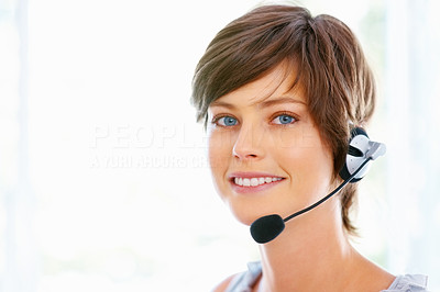 Buy stock photo Pretty young executive in headphones smiling on white background