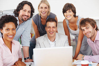 Buy stock photo Group of business people smiling and working together