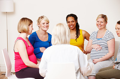 Getting advice from the midwife