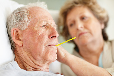 Buy stock photo Shot of a concerned senior woman taking her sick husband's temperature