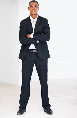 Buy stock photo Smart young american african businessman standing with folded hand at office