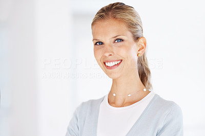 Buy stock photo Portrait of an attractive young business woman smiling confidently