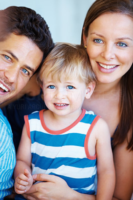 Buy stock photo Closeup portrait of happy family of three smiling
