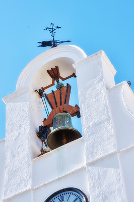 Church tower Mijas - old city of Andalusia , Spain