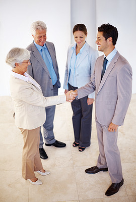 Buy stock photo Portrait of senior business woman shaking hands with male partner in the office