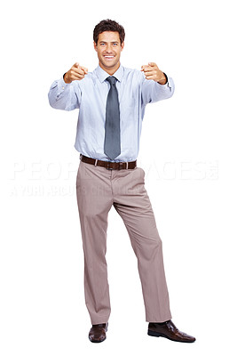 Buy stock photo Full length of a young businessman pointing with both hands at you against on white background
