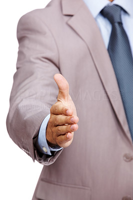 Buy stock photo Cropped image of a business man in suit hand held to make a deal against white background