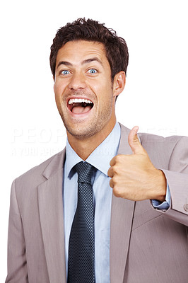 Buy stock photo Portrait of a joyful young businessman gesturing thumb up sign over isolated white background