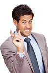 Young businessman gesturing small size by finger