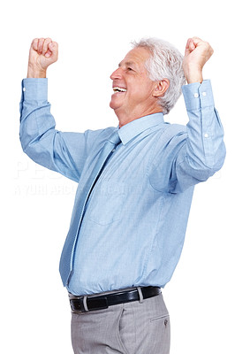 Buy stock photo Portrait of an excited old business man standing with his arms raised standing against isolated white background