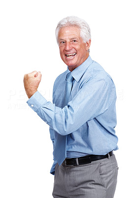 Buy stock photo Portrait of a successful old businessman showing his business bicep isolated on white background
