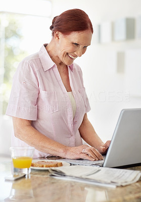 Buy stock photo Portrait of a cheerful mature woman working on a laptop at home