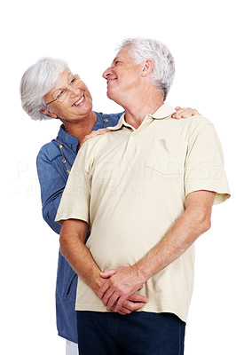 Buy stock photo Portrait of a smiling old couple enyoung themselves isolated over white background