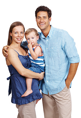 Buy stock photo Portrait of a happy young family of three persons standing isolated over white background