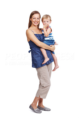 Buy stock photo Portrait of a beautiful young woman standing with her cute little child isolated over white background
