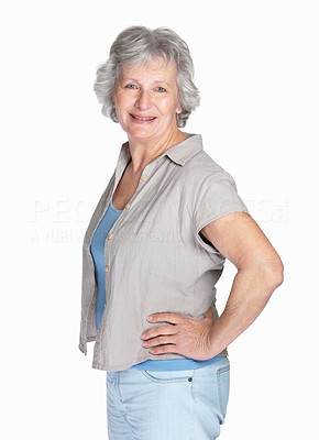 Buy stock photo Portrait of a happy mature woman posing against white background