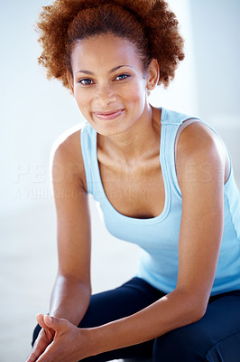 Buy stock photo Portrait of a beautiful young african american woman sitting relax