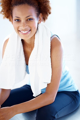 Buy stock photo Portrait of confident young woman sitting relaxed on pilates ball after her workout