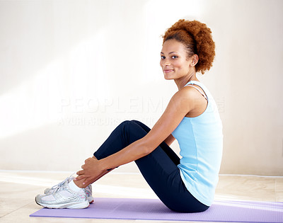 Buy stock photo Portrait of happy young female resting after workout