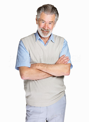 Buy stock photo Portrait of a happy mature man with hands folded isolated against white